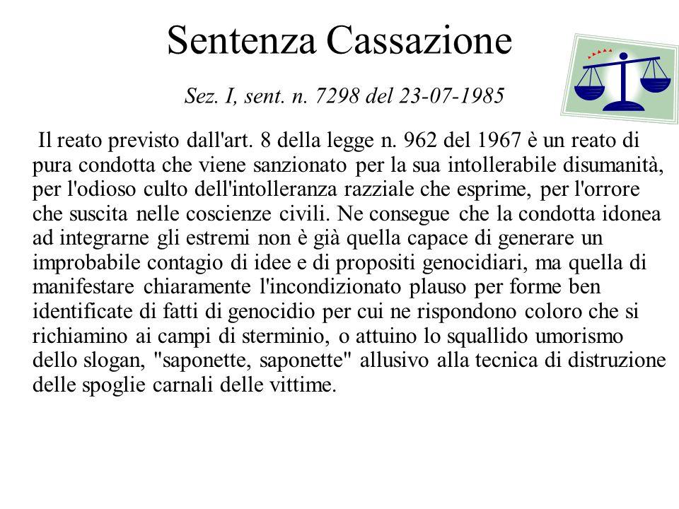 Sentenza Cassazione Sez. I, sent. n. 7298 del 23-07-1985