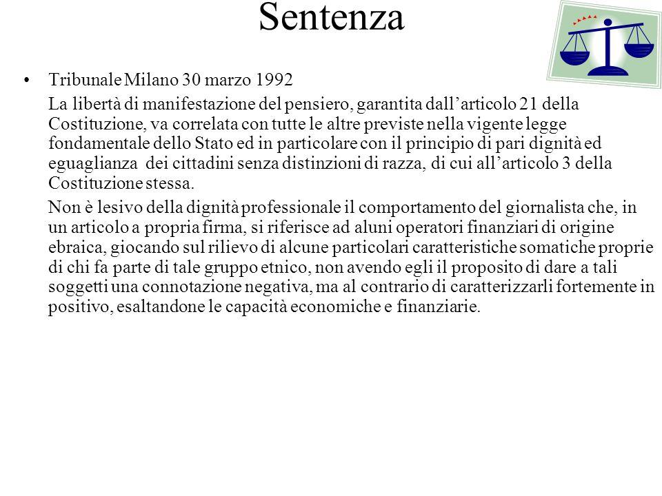 Sentenza Tribunale Milano 30 marzo 1992