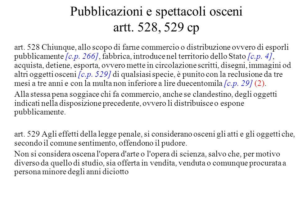 Pubblicazioni e spettacoli osceni artt. 528, 529 cp