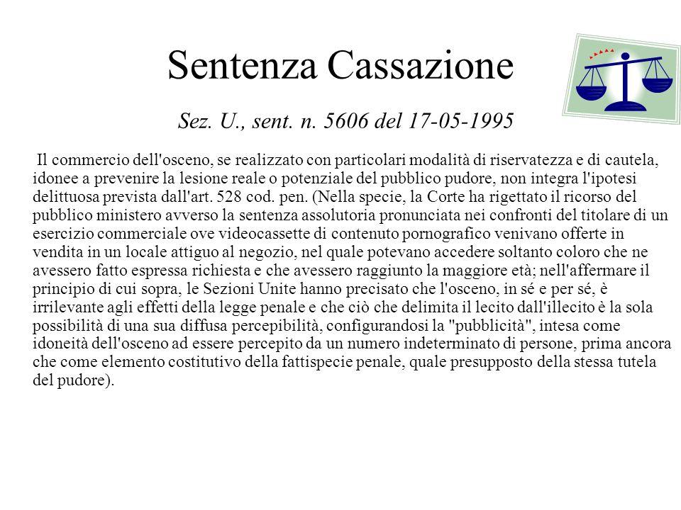 Sentenza Cassazione Sez. U., sent. n. 5606 del 17-05-1995