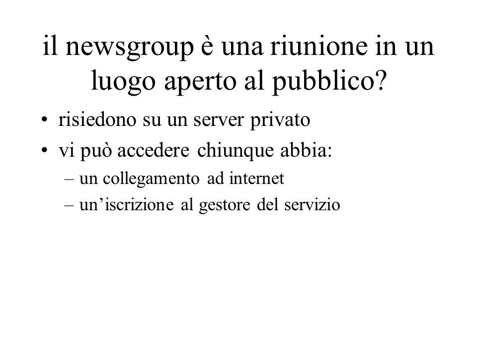 il newsgroup è una riunione in un luogo aperto al pubblico