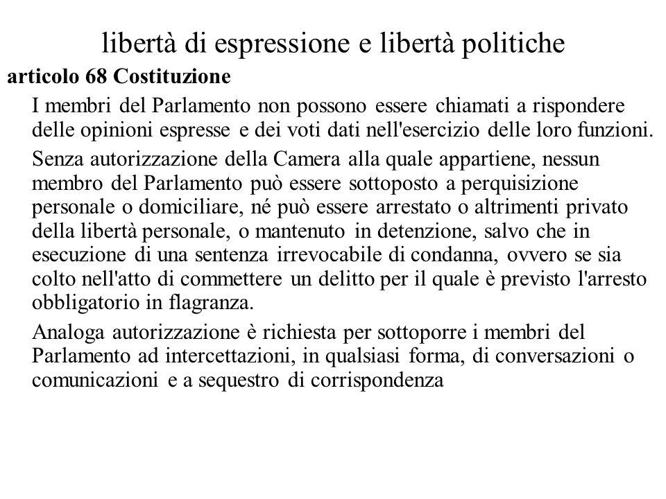 libertà di espressione e libertà politiche