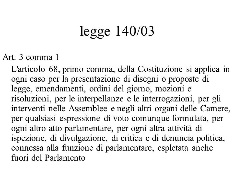 legge 140/03 Art. 3 comma 1.