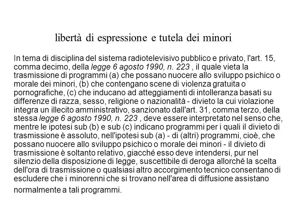 libertà di espressione e tutela dei minori