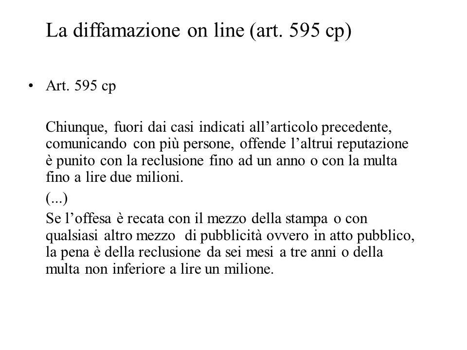 La diffamazione on line (art. 595 cp)