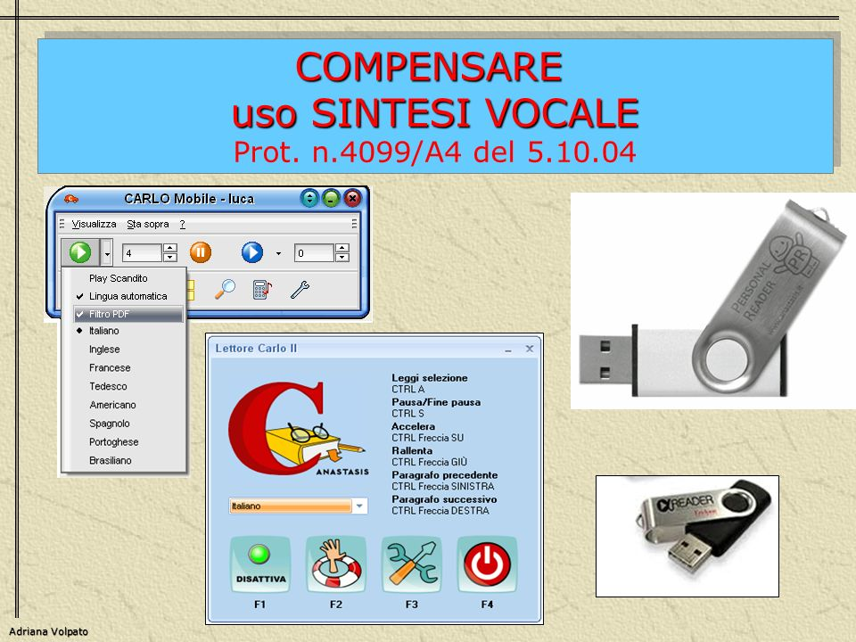 COMPENSARE uso SINTESI VOCALE Prot. n.4099/A4 del 5.10.04