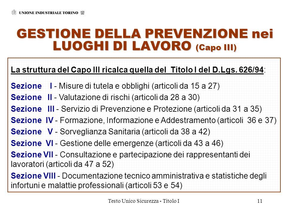 GESTIONE DELLA PREVENZIONE nei LUOGHI DI LAVORO (Capo III)