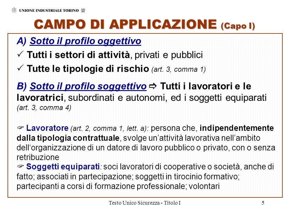 CAMPO DI APPLICAZIONE (Capo I)