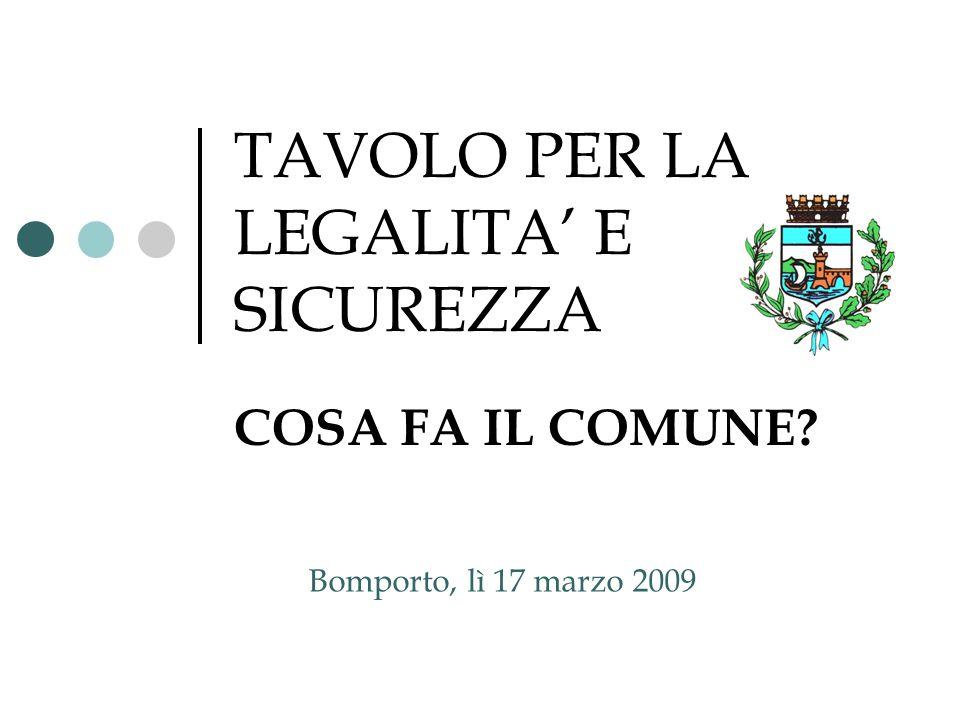 TAVOLO PER LA LEGALITA' E SICUREZZA