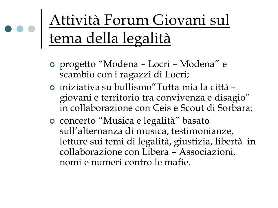 Attività Forum Giovani sul tema della legalità
