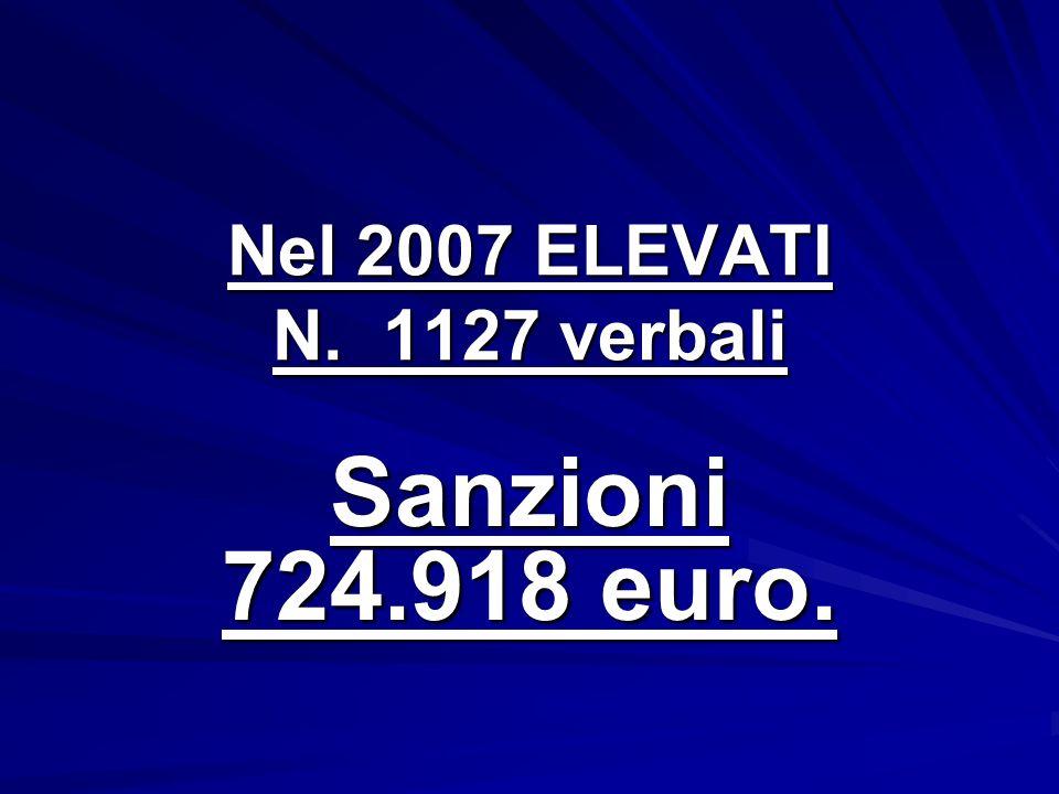 Nel 2007 ELEVATI N. 1127 verbali Sanzioni 724.918 euro.