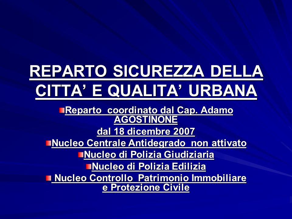 REPARTO SICUREZZA DELLA CITTA' E QUALITA' URBANA