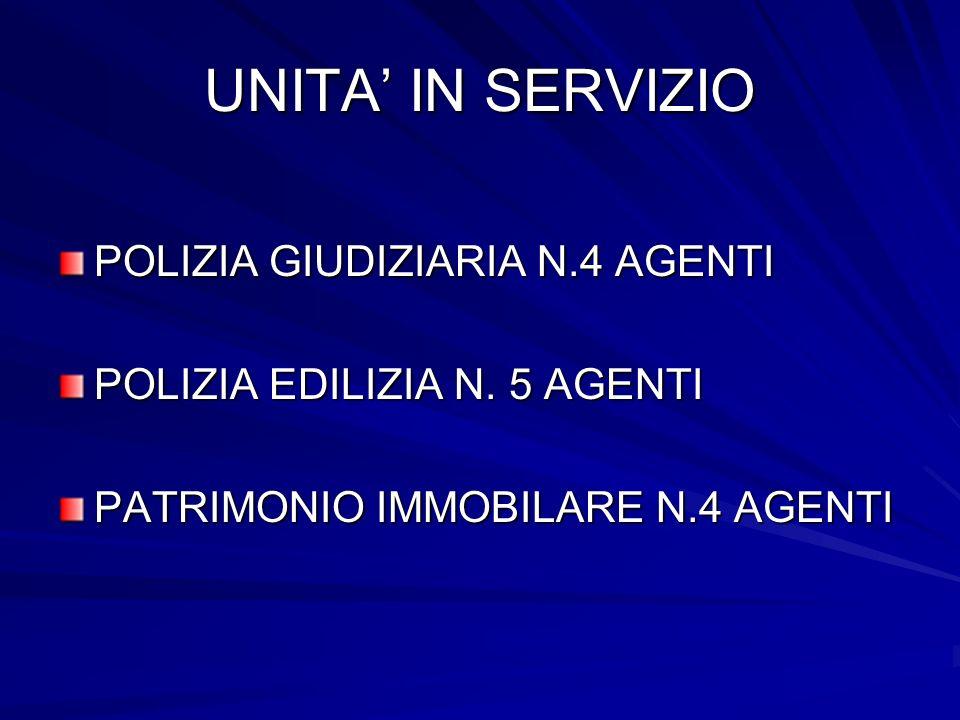 UNITA' IN SERVIZIO POLIZIA GIUDIZIARIA N.4 AGENTI