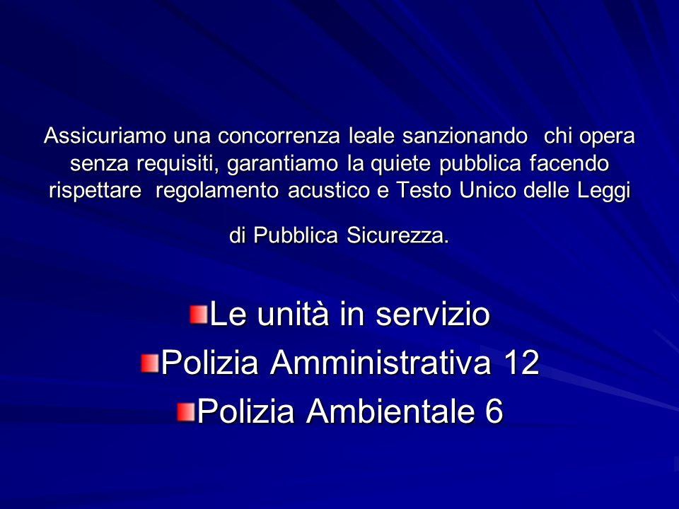 Le unità in servizio Polizia Amministrativa 12 Polizia Ambientale 6
