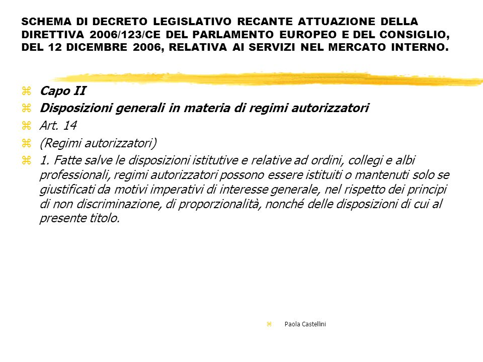 Disposizioni generali in materia di regimi autorizzatori Art. 14