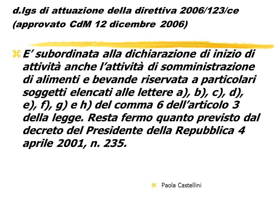 d.lgs di attuazione della direttiva 2006/123/ce (approvato CdM 12 dicembre 2006)