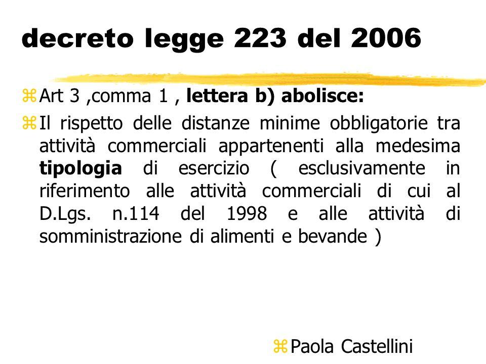 decreto legge 223 del 2006 Art 3 ,comma 1 , lettera b) abolisce: