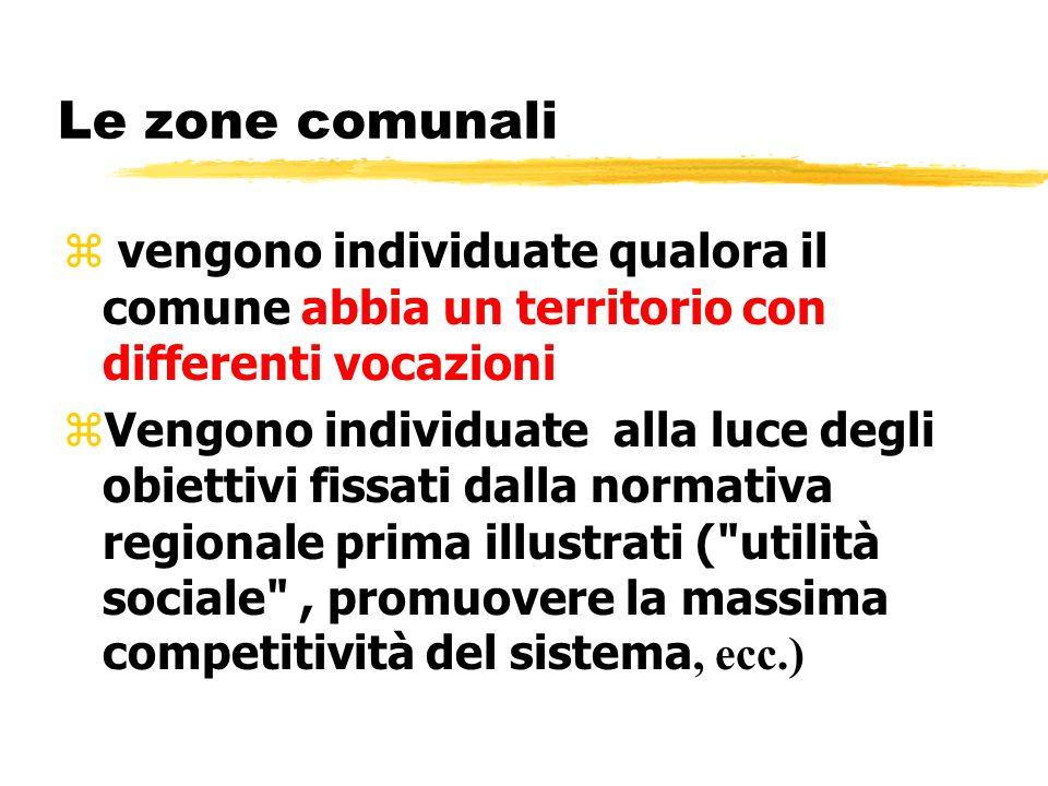 Le zone comunali vengono individuate qualora il comune abbia un territorio con differenti vocazioni.