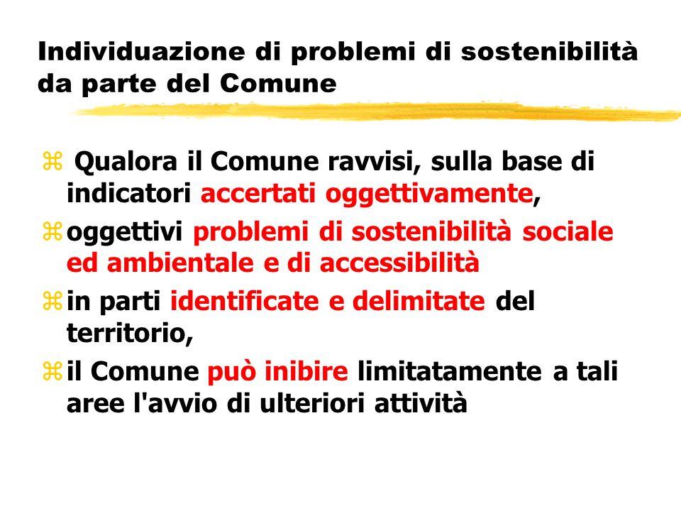 Individuazione di problemi di sostenibilità da parte del Comune