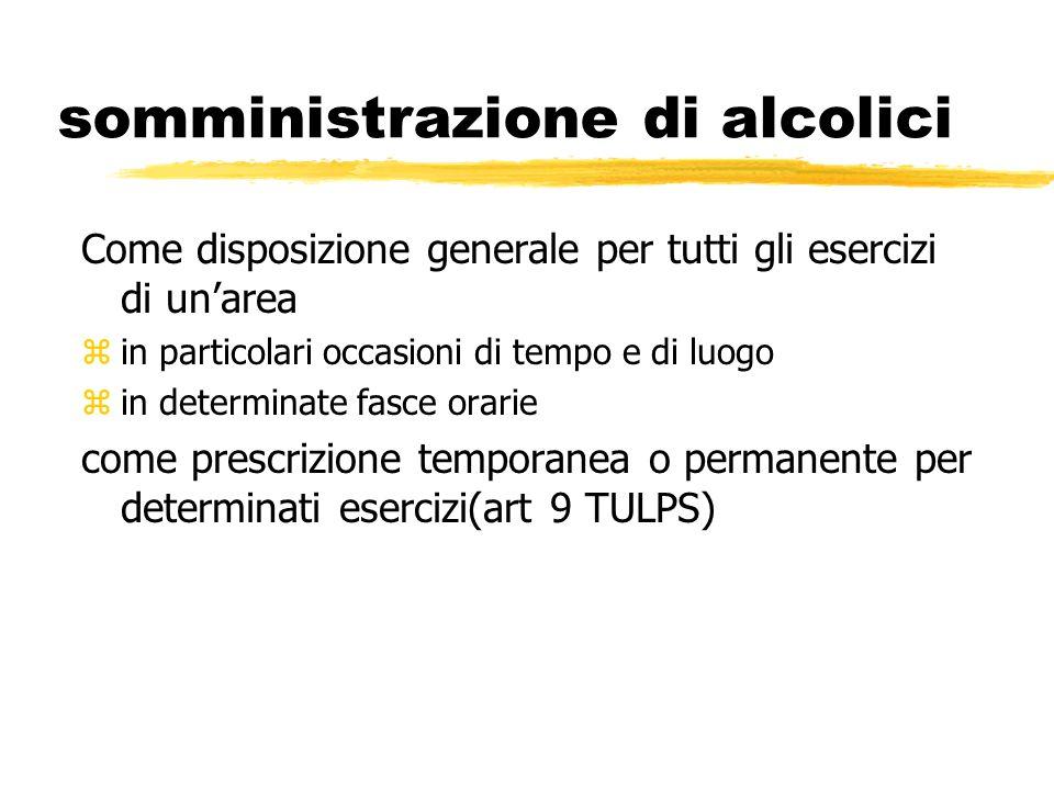 somministrazione di alcolici