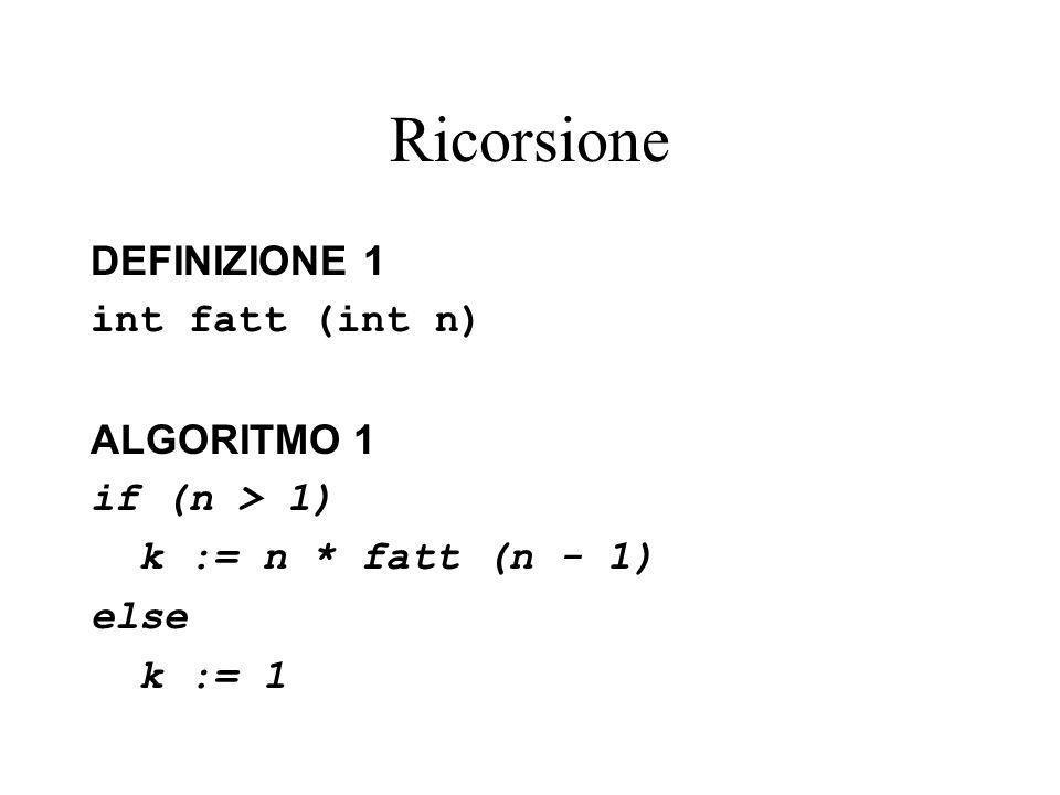 Ricorsione DEFINIZIONE 1 int fatt (int n) ALGORITMO 1 if (n > 1)