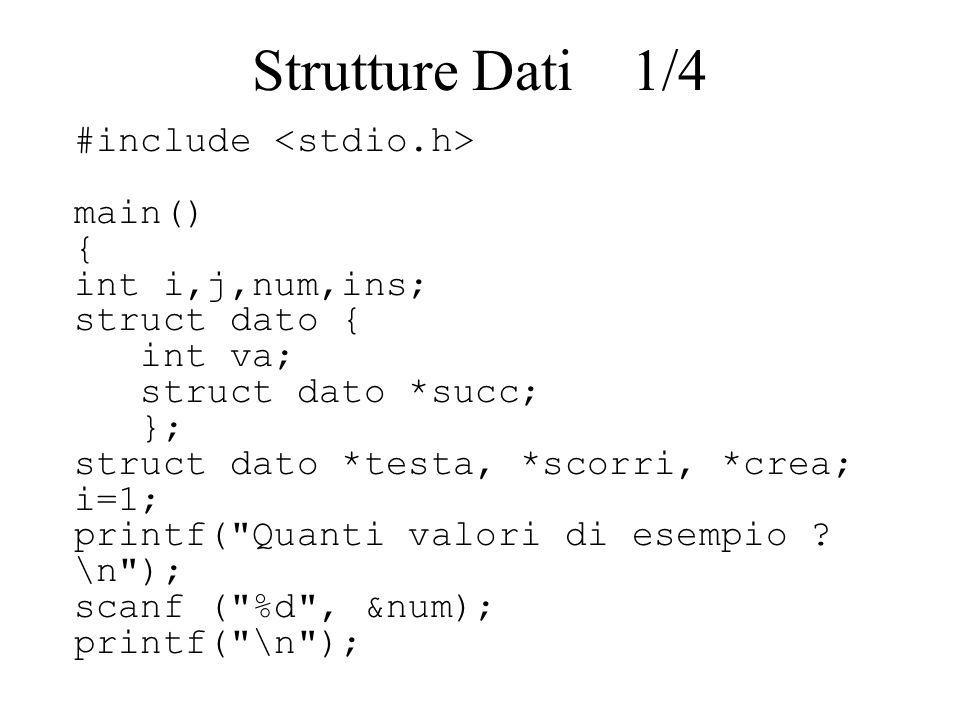 Strutture Dati 1/4 #include <stdio.h> main() { int i,j,num,ins;