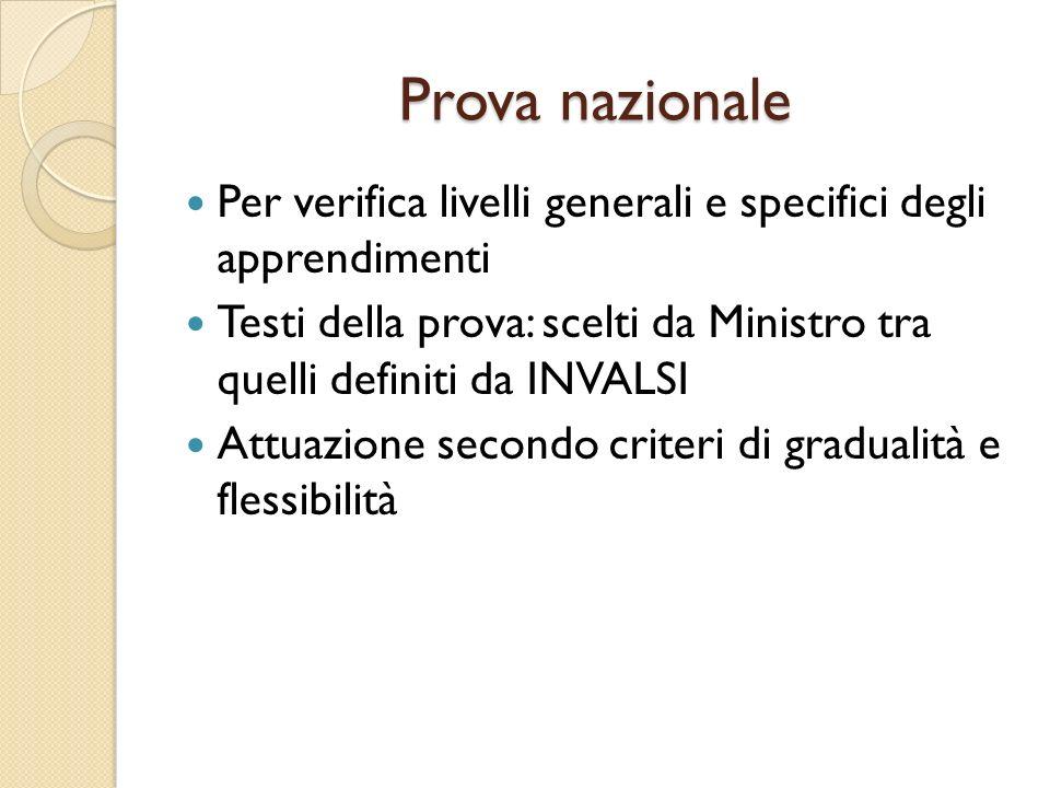 Prova nazionalePer verifica livelli generali e specifici degli apprendimenti. Testi della prova: scelti da Ministro tra quelli definiti da INVALSI.