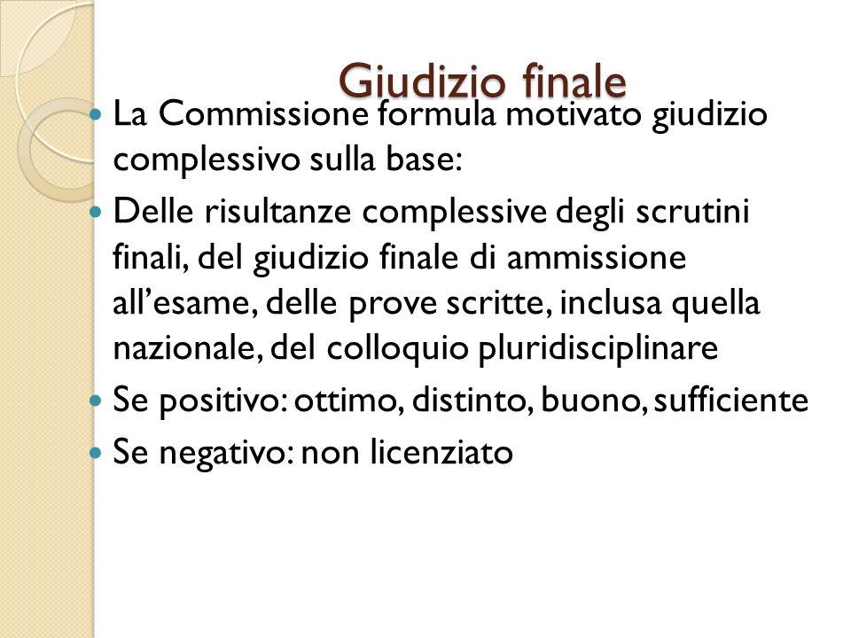 Giudizio finale La Commissione formula motivato giudizio complessivo sulla base: