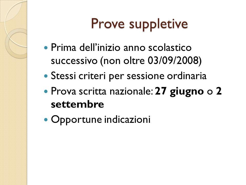 Prove suppletivePrima dell'inizio anno scolastico successivo (non oltre 03/09/2008) Stessi criteri per sessione ordinaria.