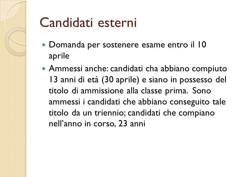 Candidati esterni Domanda per sostenere esame entro il 10 aprile