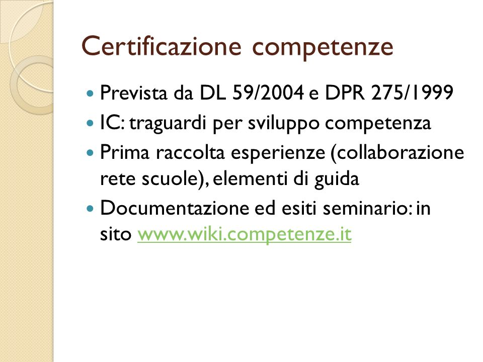Certificazione competenze