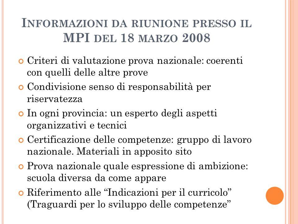 Informazioni da riunione presso il MPI del 18 marzo 2008