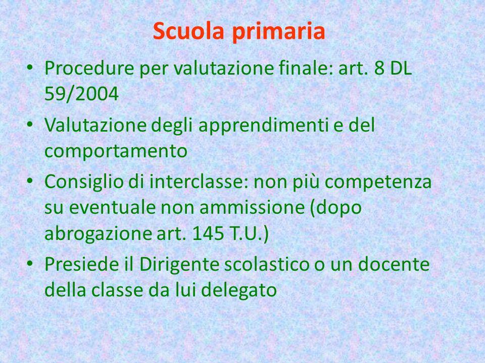 Scuola primaria Procedure per valutazione finale: art. 8 DL 59/2004