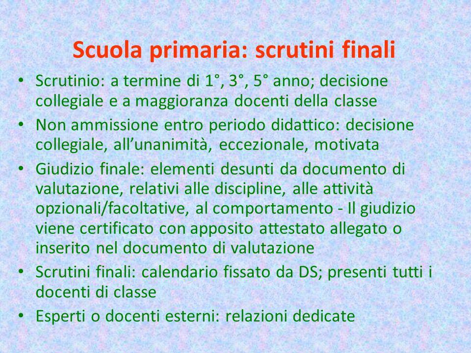 Scuola primaria: scrutini finali