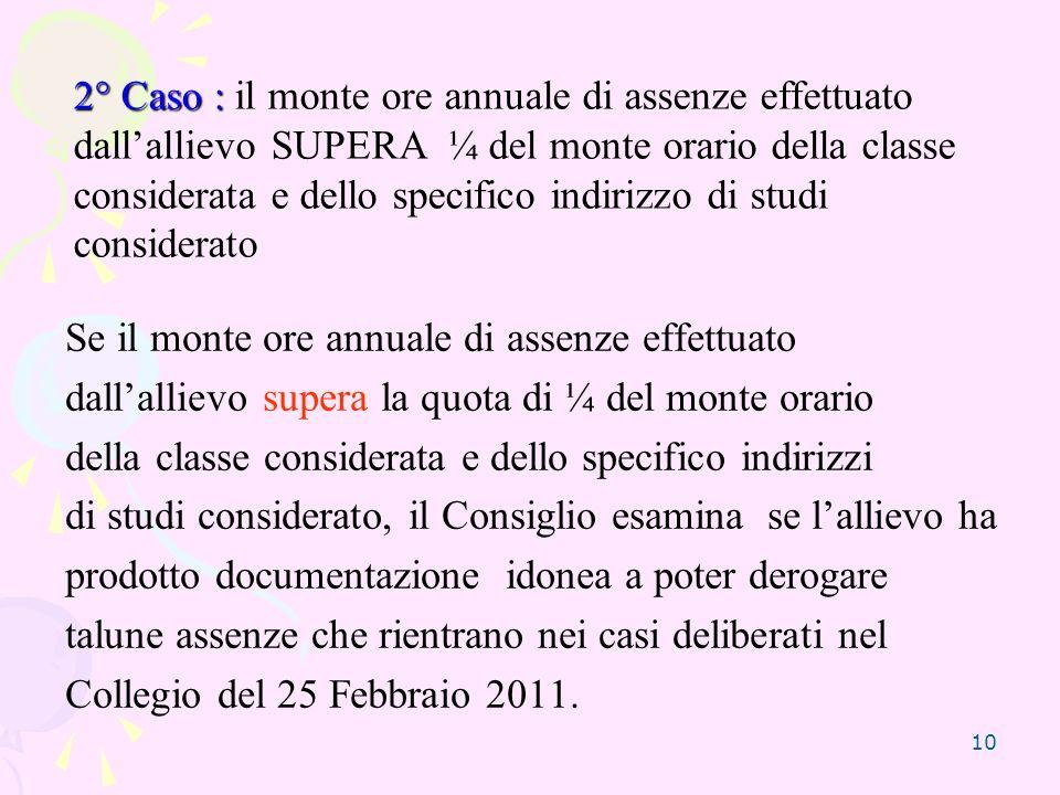 2° Caso : il monte ore annuale di assenze effettuato dall'allievo SUPERA ¼ del monte orario della classe considerata e dello specifico indirizzo di studi considerato