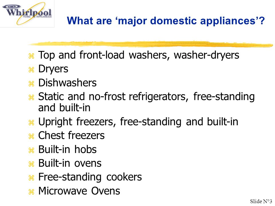 What are 'major domestic appliances'