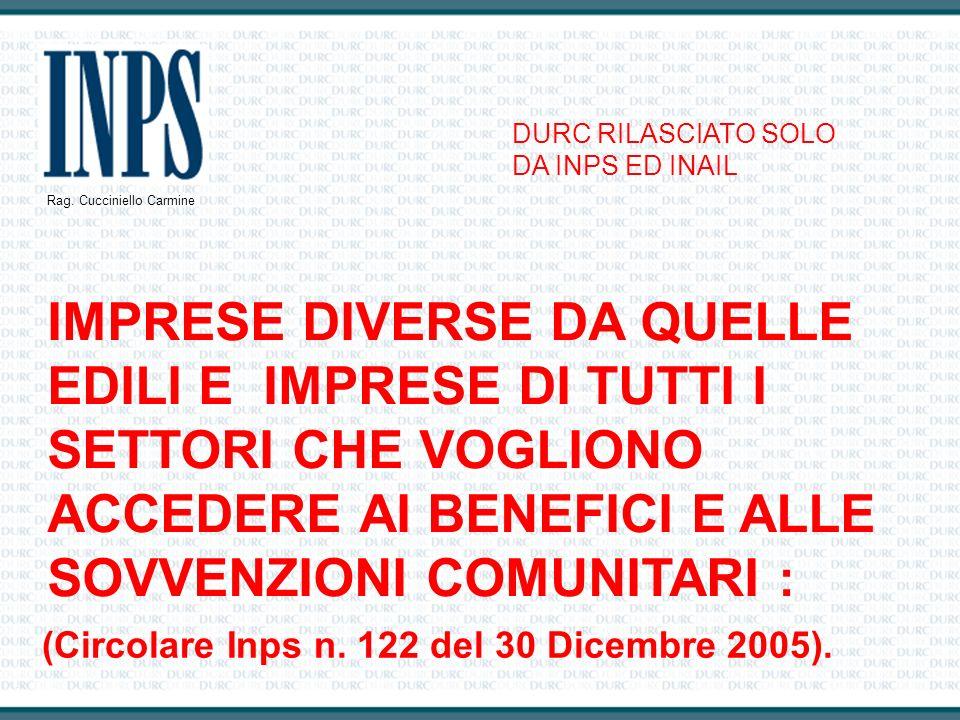 (Circolare Inps n. 122 del 30 Dicembre 2005).