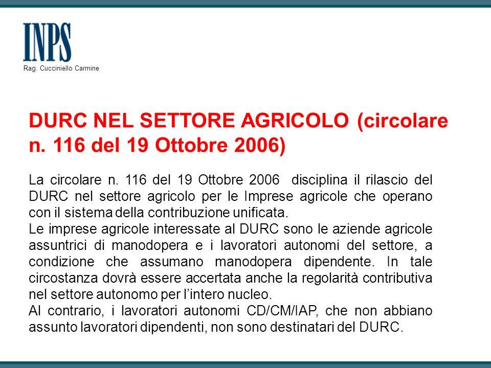 DURC NEL SETTORE AGRICOLO (circolare n. 116 del 19 Ottobre 2006)