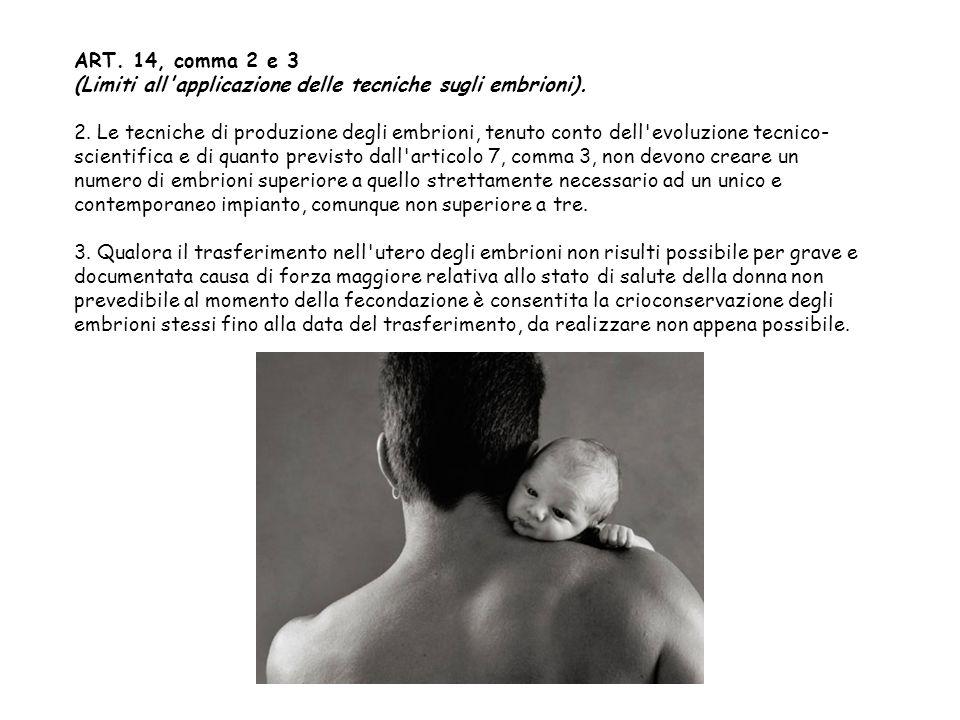 ART. 14, comma 2 e 3 (Limiti all applicazione delle tecniche sugli embrioni).
