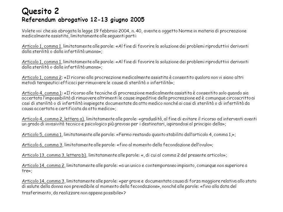 Quesito 2 Referendum abrogativo 12-13 giugno 2005 Volete voi che sia abrogata la legge 19 febbraio 2004, n.