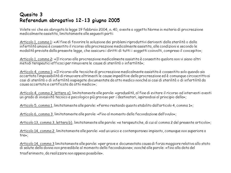 Quesito 3 Referendum abrogativo 12-13 giugno 2005 Volete voi che sia abrogata la legge 19 febbraio 2004, n.