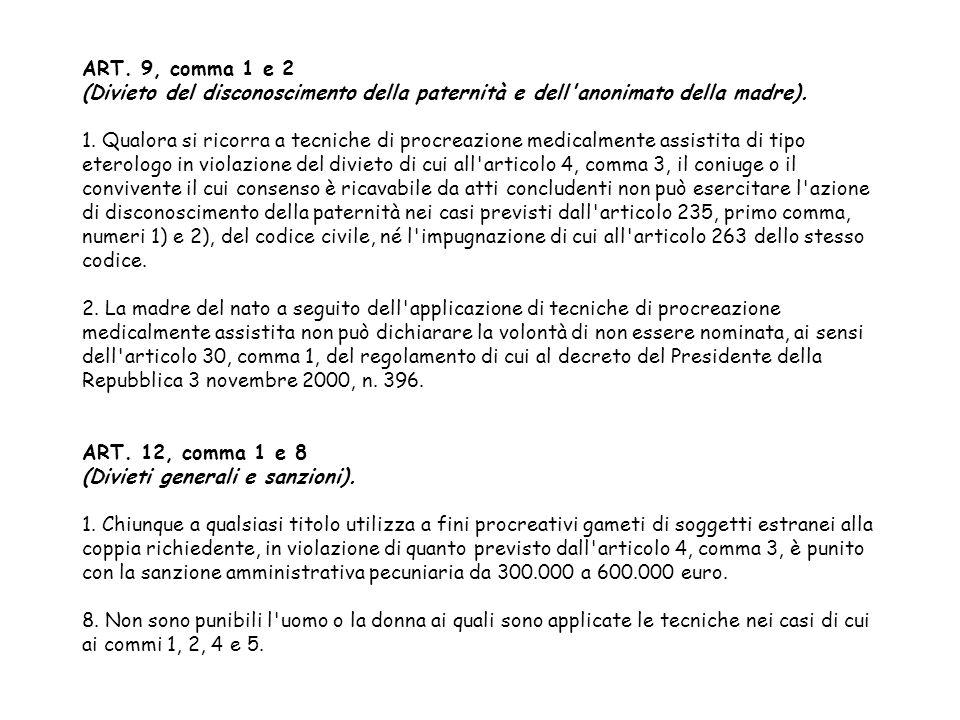 ART. 9, comma 1 e 2 (Divieto del disconoscimento della paternità e dell anonimato della madre).