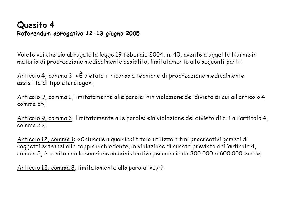 Quesito 4 Referendum abrogativo 12-13 giugno 2005