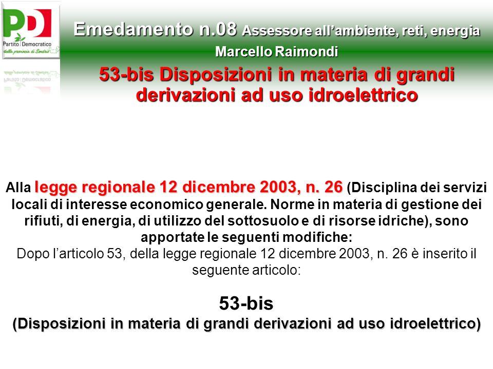 Emedamento n.08 Assessore all'ambiente, reti, energia