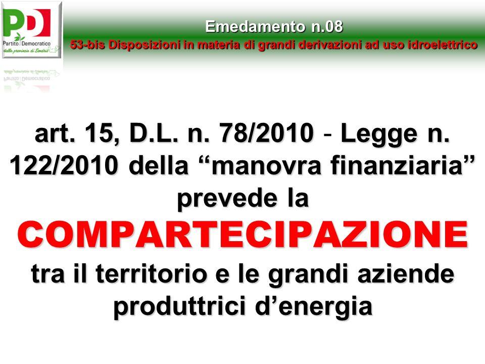 Emedamento n.0853-bis Disposizioni in materia di grandi derivazioni ad uso idroelettrico.