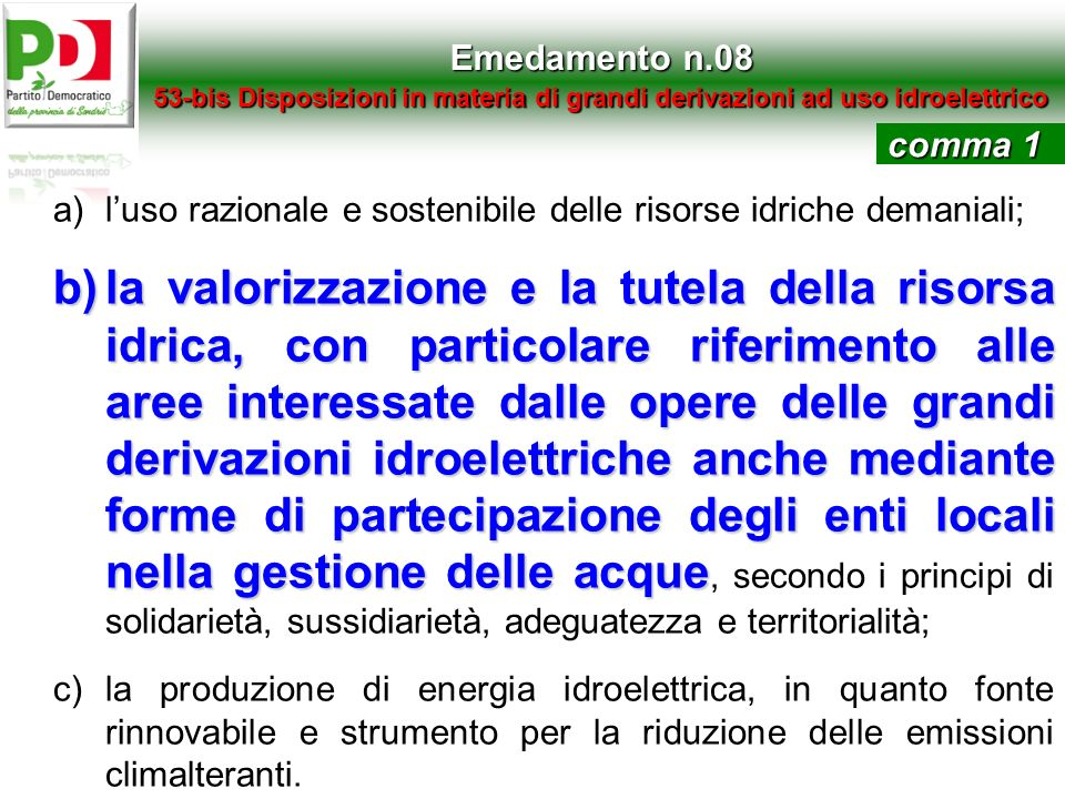 Emedamento n.08 53-bis Disposizioni in materia di grandi derivazioni ad uso idroelettrico. comma 1.
