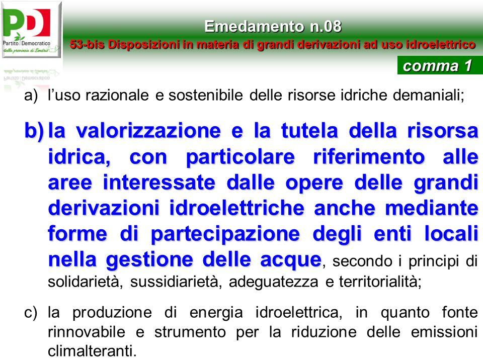 Emedamento n.0853-bis Disposizioni in materia di grandi derivazioni ad uso idroelettrico. comma 1.
