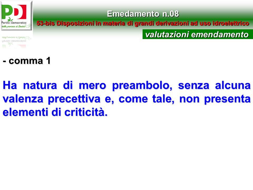 Emedamento n.08 53-bis Disposizioni in materia di grandi derivazioni ad uso idroelettrico. valutazioni emendamento.