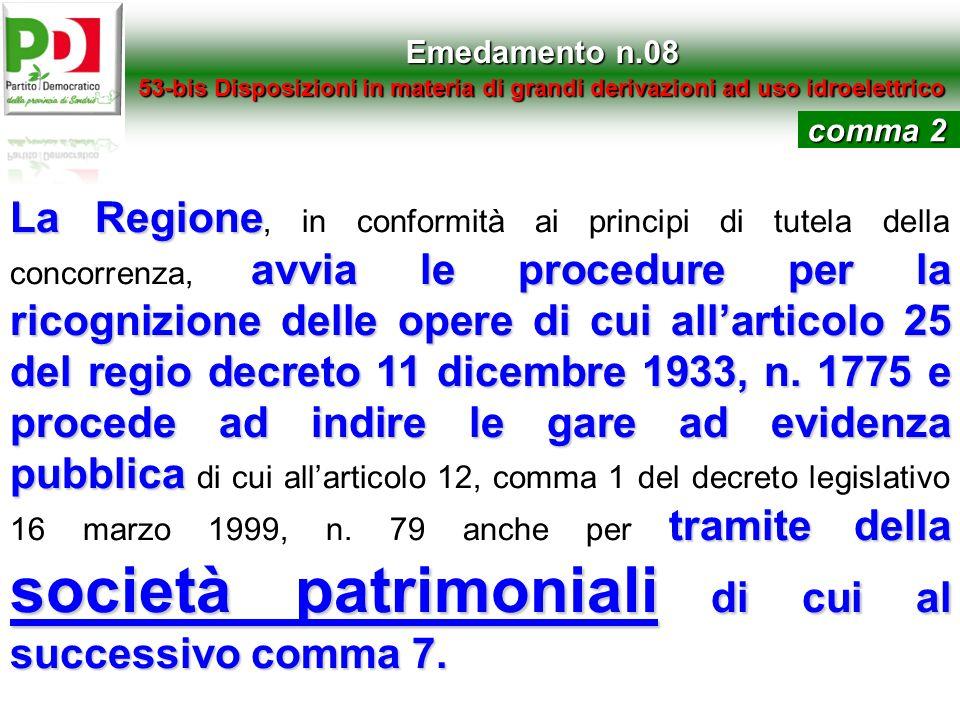 Emedamento n.0853-bis Disposizioni in materia di grandi derivazioni ad uso idroelettrico. comma 2.