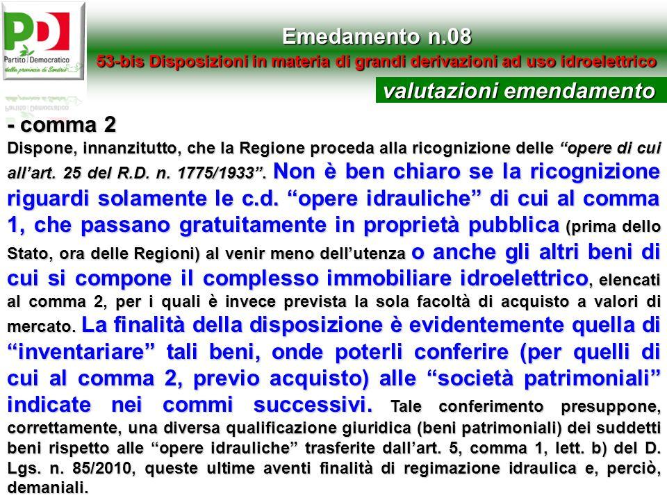 valutazioni emendamento - comma 2